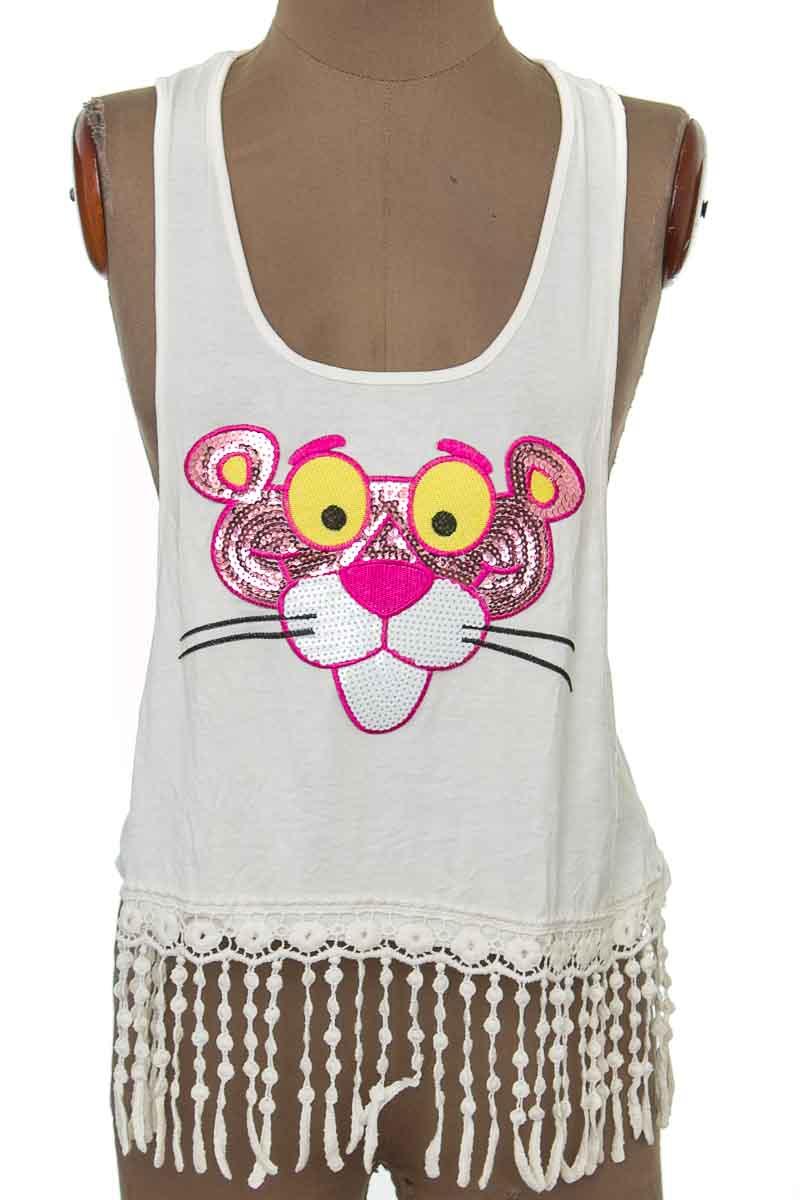 Top / Camiseta color Blanco - Azul y Rosa